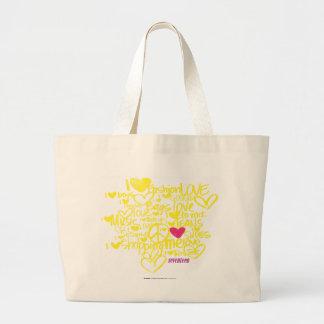 Pintada magenta/amarillo bolsa tela grande