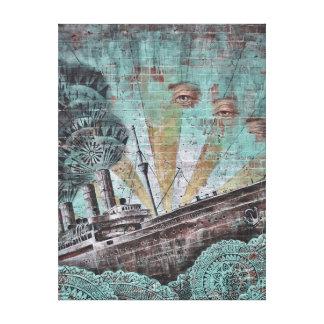 Pintada marítima azul del vintage lienzo envuelto para galerias