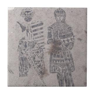 Pintada medieval de los caballeros azulejo cuadrado pequeño