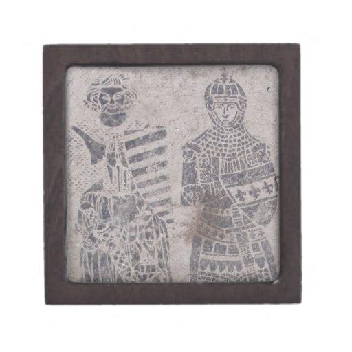 Pintada medieval de los caballeros caja de recuerdo de calidad