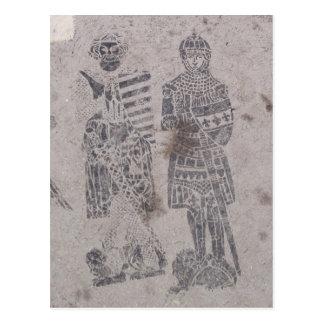 Pintada medieval de los caballeros tarjetas postales
