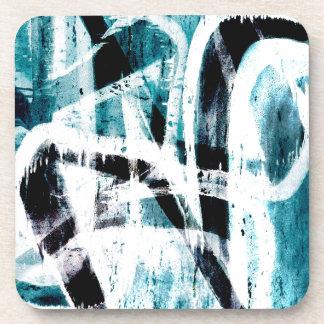 Pintada negra y azul abstracta posavaso