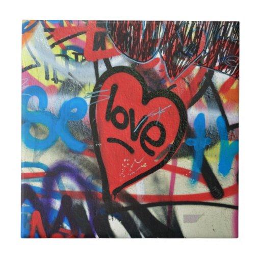 pintada pintada rojo del amor del corazón tejas  ceramicas