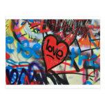 pintada pintada rojo del amor del corazón tarjeta postal