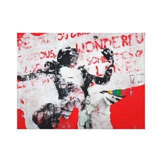Pintada roja y blanca descolorada con la plantilla impresión en lona estirada