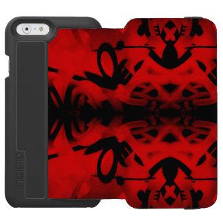Pintada roja y negra del caleidoscopio funda billetera para iPhone 6 watson