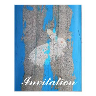 """Pintada urbana del conejo invitación 4.25"""" x 5.5"""""""
