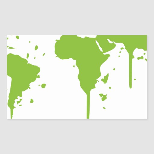 Pintada verde pintada mapa del mundo pegatina rectangular