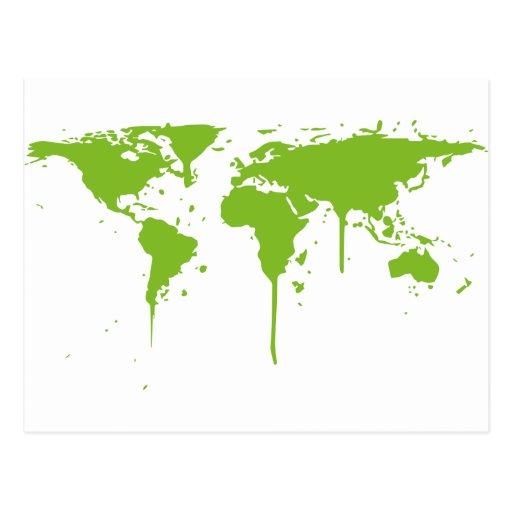 Pintada verde pintada mapa del mundo tarjeta postal