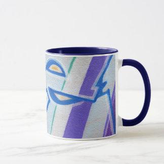Pintadas abstractas rayadas azules taza