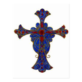 Pintado a mano cruzado rojo y azul ornamental tarjetas postales
