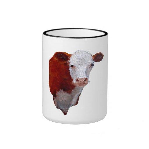 Pintado a mano: Vaca de Hereford: Animal, granja, Taza De Dos Colores