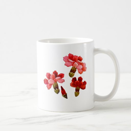 Pintado claveles rojos y rosados tazas