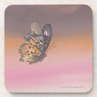 Pintando la representación de la mariposa en vuelo posavasos