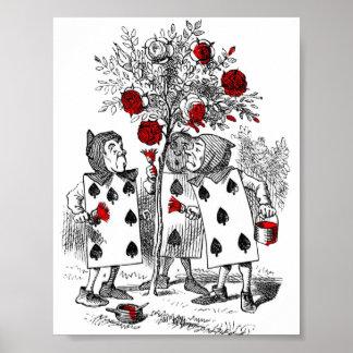 Pintando los rosas rojos póster