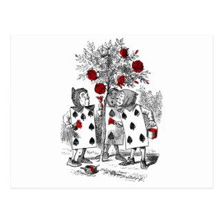 Pintando los rosas rojos postales