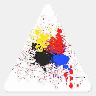 Pinte el amarillo del rojo azul del negro del arte pegatina triangular