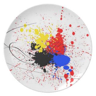 Pinte el amarillo del rojo azul del negro del arte platos de comidas