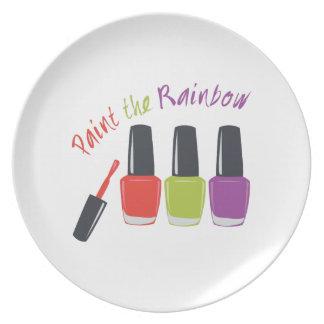 Pinte el arco iris platos para fiestas