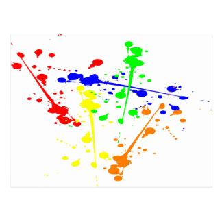 Pinte el arte abstracto del chapoteo colorido postales