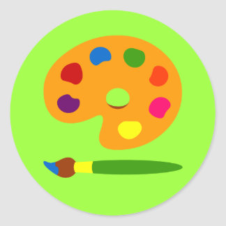 Pinte el arte de la paleta pegatina redonda