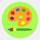 Pinte el arte de la paleta pegatinas redondas