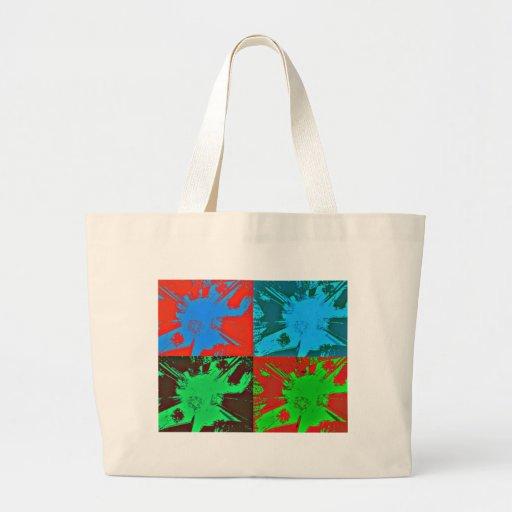 Pinte el arte rojo del verde azul de las manchas bolsa de mano