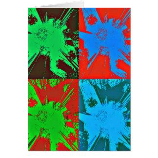 Pinte el arte rojo del verde azul de las manchas tarjeta de felicitación