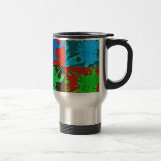 Pinte el arte rojo del verde azul de las manchas taza de viaje