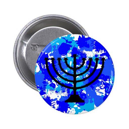 Pinte el azul Menorah de la salpicadura Pin Redondo 5 Cm