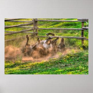 Pinte el balanceo del caballo en foto equina poster
