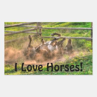 Pinte el balanceo del caballo en foto equina pegatina rectangular