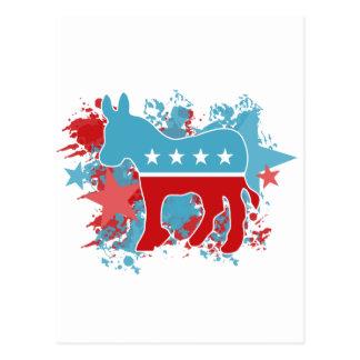 Pinte el burro de Demócrata de las salpicaduras Tarjeta Postal