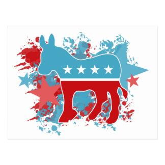 Pinte el burro de Demócrata de las salpicaduras Postal