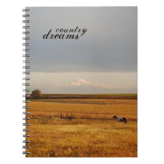 Pinte el caballo en cuaderno del campo