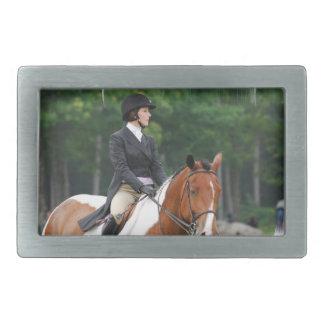 Pinte el caballo en la hebilla de la demostración hebilla de cinturón rectangular