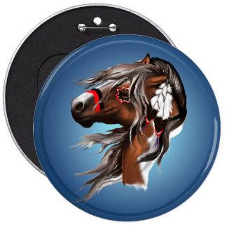 Pinte el caballo y el botón de las plumas pin redondo de 6 pulgadas