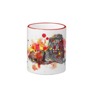 Pinte el león de la mancha tazas de café