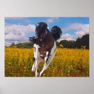 Pinte el poster galopante del caballo