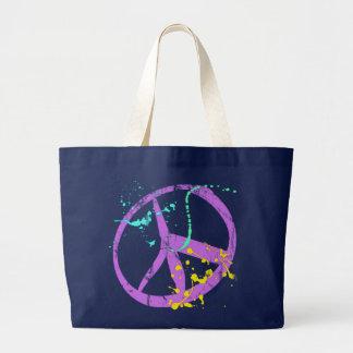 Pinte el signo de la paz de la salpicadura bolsa tela grande