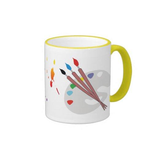 pinte el splater, splater de la pintura, copia fut tazas de café