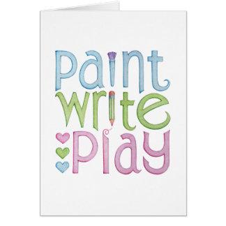 Pinte escriben la tarjeta del juego