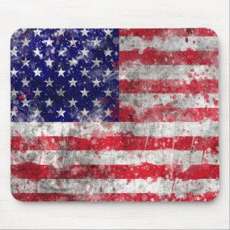Pinte la bandera americana de la salpicadura alfombrillas de raton