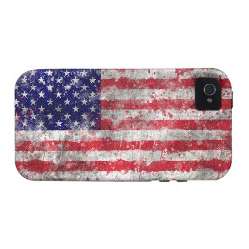Pinte la bandera americana de la salpicadura iPhone 4/4S carcasas