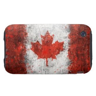 Pinte la bandera del canadiense de la salpicadura tough iPhone 3 cobertura