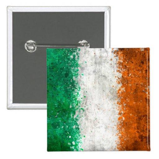 Pinte la bandera del irlandés de la salpicadura pin cuadrada 5 cm