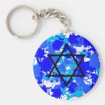 Pinte la estrella judía azul de la salpicadura llaveros personalizados