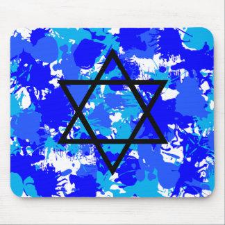 Pinte la estrella judía azul de la salpicadura tapete de ratón