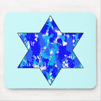 Pinte la estrella judía azul de la salpicadura tapetes de ratón