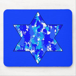 Pinte la estrella judía azul de la salpicadura tapete de raton